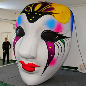 Hanging Inflatable Clown Inflatables Carnival Masks Jolly Jester With LED Strip and Blower For Nightclub or Halloween Decoration