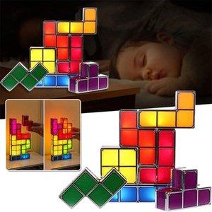 DIY Tetris головоломки легкий стекируемый ночной свет светодиодный стол лампа 7 шт. Волшебные блоки головоломки игрушечные индукционные блокировки лампы 3D подарок C0305