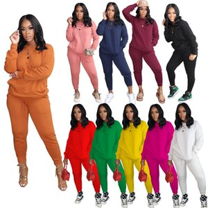 Women Designers Clothes 2020 Long Sleeved Pullover Sportswear Casual Two Piece Outfits Fashion Women Plus Size Clothing S-XXXL