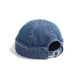 Denim Cowboy Men Hats Women Docker Cap Beanie Sailor Worker Hat Rolled Cuff Retro Brimless Adjustable Hip Hop Harajuku Winter Outdoor Casual