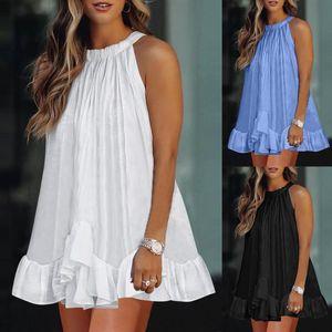 Casual Dresses Summer Women Solid Color Sleeveless Ruffle Sleeve V Neck Irregular Tutu Mini Dress Elegant Party Beach Sundress