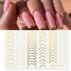 3D Lines Nail Stickers DIY Rose Gold Metal Stripe Lines Letters Decals Curve Nail Art Sliders Self Adhesive Decorations Manicure free DHL