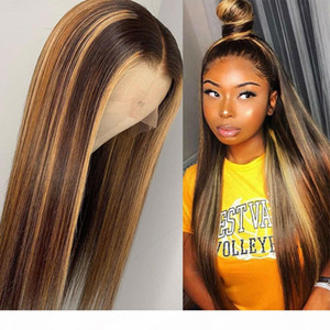 Blonde Lace Front Wigs Highlight Brown Lace Front Human Hair Wigs Brazilian Bone Straight Human Hair Wig Ombre Wig