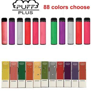 퍼프 바 플러스 88 색 일회용 Vape 550mAh 3.2ml 포드 미리 채워진 일회용 vape 휴대용 증기 퍼프 XXL 더블 퍼프 바 공기 바 럭스