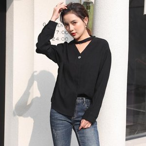 New 2021 Sexy Designer Ladies V-Neck Blouses Fashion Runway Women Halter Shirts Long Sleeve Slim Office Button Casual Tops Spring Autumn