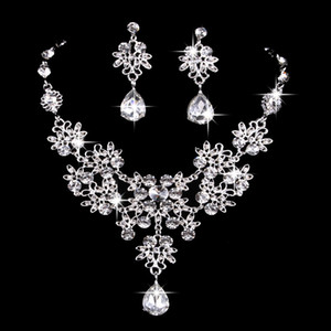 New Bridal Jewelry Wedding Accessories Alloy Diamond Earrings Necklace Two Piece Set