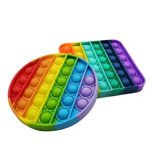 Rainbow Fidget Pop It Giocattoli Sensory Push Pop Bubble Toy Autism Bisogno speciale Ansia Stress Reliever per gli studenti Ufficio lavoratori WWA118