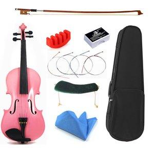 Tongling Marka Öğrenci Acemi Pembe Keman Yüksek Dereceli Katı Ahşap 4/4 Violino Fiddle Tam Set Aksesuarları