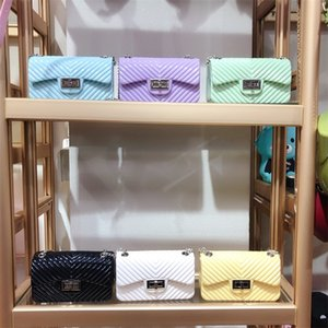 Free DHL 12 Colors V Texture INS Mother and Kids chain purse PVC Mini Girls bag Handbag School One-shoulder Bags