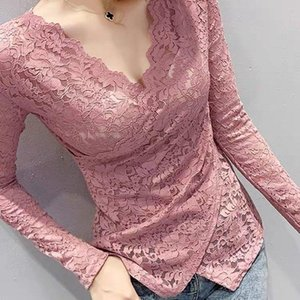 Women's Blouses & Shirts Blouse Women Shirt 2021 Spring V-neck Lace Long Sleeve Cross Blusas Mujer De Moda