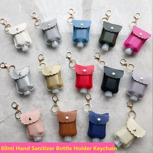 Hand Sanitizer Bottle Holder Keychains Bag Portable Outdoor PU Leather Key Chain Accessories 60ML Plastic Empty Refillable Bottle Cover
