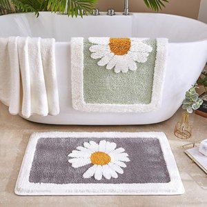 Bathroom Door Entrance Mat Daisy Bath Rug Bathroom Non-Slip Mat Toilet Door Mats Entrance Door Absorbent Mat Anti-slip Mats GWC6163