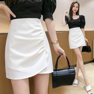 Skirts Korean Fashion High-waisted Woman Skirt Summer Solid Above Knee Mini Sexy Women Clothing Black Wave Fold For Female