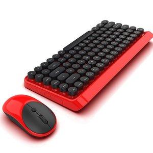 Keyboards Eshowee 2.4Ghz Punk Retro Dot Keyboard Office Notebook Wireless Mouse Set + Battery