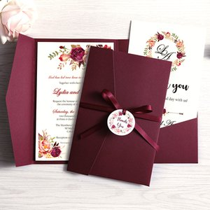 1pc Wedding Invitations Burgundy Pink Blue Pocket Greeting Cards with Envelope Customized Party with Ribbon and Tag