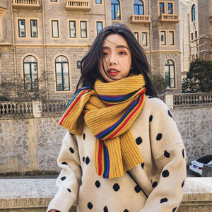 2019 new wool winter Korean couple thickened warm women's bib rainbow color knitted scarf