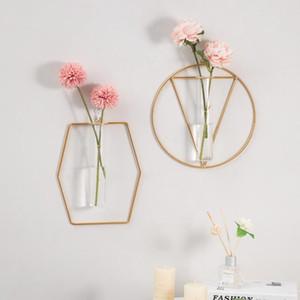 크리 에이 티브 벽 교수형 수경 공장 유리 꽃병 목가 철분 꽃꽂이 꽃병 홈 장식 장식