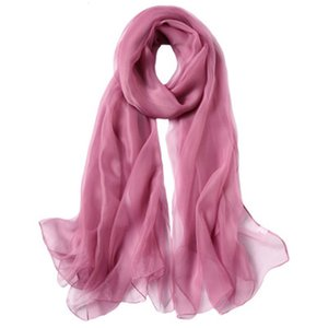 High grade solid color ice women's sunscreen shawl long large beach towel travel dual purpose silk scarf