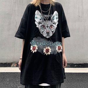 2021 New Gothic Cat Tshirt Streetwear O-neck Punk Tees Men Women Summer Long Sleeve Loose Shirt Funny Boys Couple Black t Shirts Ck2q