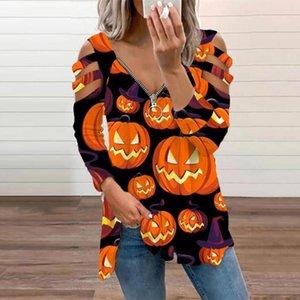 Women's Blouses & Shirts Irregular Offshoulderblouse Women Autumn Plus Size Zipper Pumpkin Print Hollow Lace Vintage Casual 3 4 Sleeve