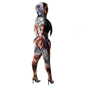 2021 New Leopard Print Sexy Zipper Hoodie Knit Jumpsuits Women Winter Clothes Office Lady Bodycon Rompers Casual Warm Outfits Tsmf