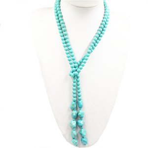 New Hot Buy Bohemians Style 6mm Calaite Turkeys Stones Round Beads Long Chain Women Explanation Diy Jewelry 50inches