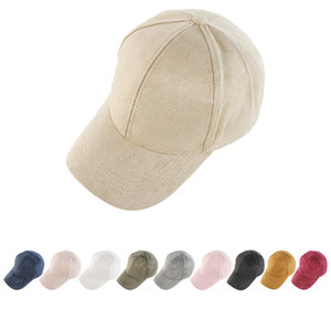 Suede Fabric Solid Ponytail Hat 10 New styles Couples Ponytail Baseball Cap Newest Street Outdoor Sports Tide Sun Peak Hat LLA435