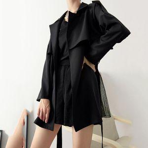 Women's Trench Coats 2021 Spring Autumn Lapel Suit Short Blazers Female Loose Drape Temperament Lace Up Waist Coat Women Tops G294