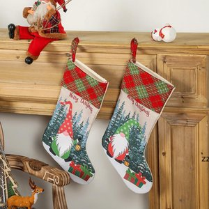 Christmas Stockings Gnome Buffalo Plaid Kids Gift Treat Bags Holiday Party Xmas Tree Fireplace Decoration HWB10554