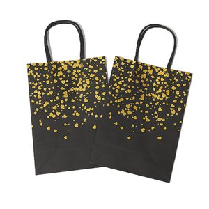Black Hot Stamping Handbag Tote Bag Storage Bags Fashion Kraft Paper Gift Packaging Bag Green Shopping Bags