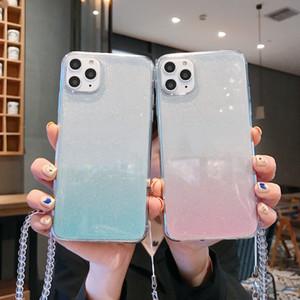 아이폰 12 11 7 8 XR XS X Max Plus 뒷면 커버 케이스 기초를위한 손잡이 그라디언트 소프트 TPU 전화