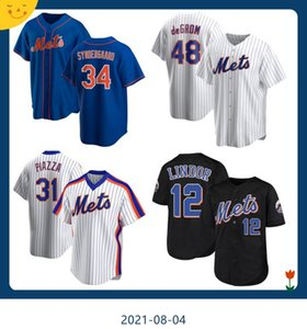 12 Francisco Lindor Neue 20 Pete Alonso 48 Jacob Degrom York Mike Piazza Mets Noah Syndergaard Darryl Strawberry Baseball Trikots Z4