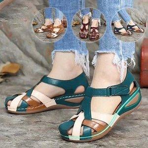 2021 Sandalet Kadın Flats Plaj Platformu kadın Sandalet Toka Rahat Ayakkabılar Kadın Sandalias Mujer Sapato Feminino Artı Boyutu