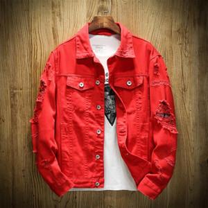 Bombacı Denim Ceket Erkekler Yırtık Delik Beyaz Jean Ceketler Sonbahar / Bahar Konfeksiyon Yıkanmış Mens Denim Ceket