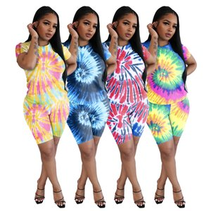 2021 Omen Two Piece Outfits Summer Woman Tie Dye Printed Casual Sports 2 Pieces Set Fashion Lady Short Sleeve Print 2 Piece Set