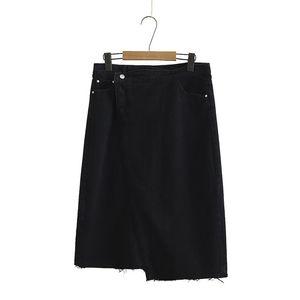 Skirts Plus Size Women's Midi Denim Female Casual Solid Black Long