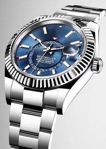 Роскошные часы Мужская автоматическая механическая календарь 42 мм из нержавеющей стали Sky-Dveller GMT Мужская светящаяся мода WaterProoo