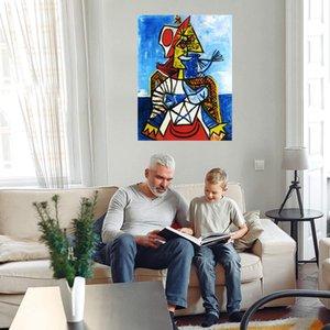 Pablo Picasso Mujer con sombrero rojo blanco Decoración de la casa Handcrafts / HD Pintura al óleo de impresión en lienzo Lienzo de pared grande Imagen de lienzo 210223
