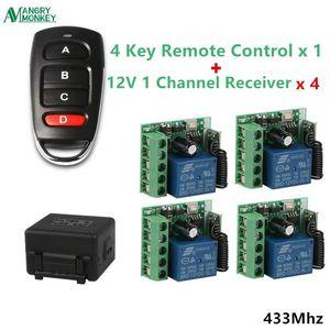 433MHz RF wireless Learn code EV1527 remote control 1piece & 1 channel DC12V receiver switch 4 pieces door motor Garage control