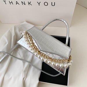 HBP White Pearl Armpit Bag Baguette Handbags 2021 New Fashion Cute Wave Stone Pattern Solid Color One-shoulder Messenger Handbag Wholesale
