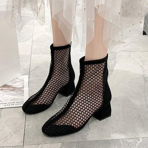 2021 Summer Gladiator Sandals High Heels Dress Shoes Woman Mesh Sandal Boot Lace Sexy Heels Shoes sandalias mujer Black A022