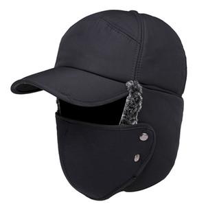 Hombres Mujeres Sombreros Caps Máscara Conjunto Oíjes Orejeras Espeseñadas Invierno Cálido Para El Ciclismo Al Aire Libre Hat