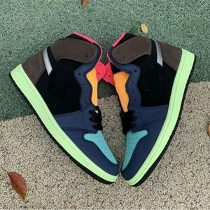 High og 1 bio pirate de hack noir moka 2020 nouvelle version 1S baroque brun noir-laser orange-coureur rose-coureur pin basketball chaussures hommes Sports Sneakers