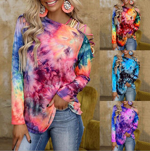 Woman Long Sleeve Casual T-shirt Tie Dye Printed Hollow out Shoulder T-shirt S-3XL