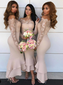 2021 Long Sleeve Lace Mermaid Bridesmaid Dresses Off Shoulder Boat Neck High Low Formal Junior Girl Women Prom Party Wear Wedding Guest Gown