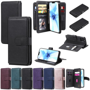 Multifunction Leather Wallet Card Slots Phone Case For Iphone 12 pro max 12 mini 11 XR XS MAX 8 plus Samsung S20 plus S20 S10 A21S Note 20