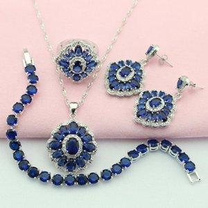 Wpaitkys Dark Blue Cubic Cubic Color Silver Color Joyería Conjuntos de joyería para mujeres Pendientes Pulsera Pulsera Caja de regalo gratis