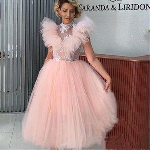 Breve Blush Pink Prom Dresses High Neck Ruffles Illusion Bodice Tè Tè Lunghezza Formale Abiti da sera Abiti di fidanzamento 2021 Occasioni speciali