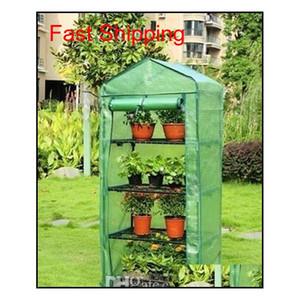 Garden Greenhouses 4 étagères Maison verte Maison de fer pliable Tube de fer pliable avec couvercle en tissu de maille PE Greidhouse portable mini QyLama Benet