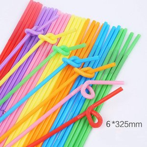 PP Colorful Plastic Straws Suction Creative Curved DIY Twistable Disposable Transparent Straws Christmas Party Supplies BWA8525